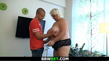 He doggy-fucks blonde BBW