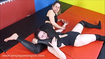 Leather and Lace Standing Headscissors Domination Girl On Girl