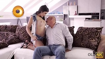 OLD4K. Bald handsome dad has powerful cock for busty brunette