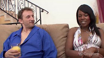 Coffee Broun Lets A White Guy Cum All Over Her Stomach
