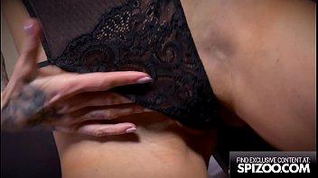 Stunning Tattooed Blonde Sarah Jessie Strip Down & Purple Dildo