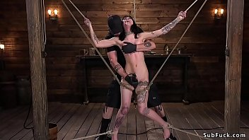 Goth babe suffers brutal hogtie suspension