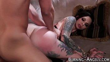 Gothic slut rides cock