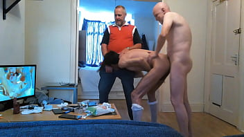 Bisexual dad  Faggot's pussy gets double penetration by horny daddys