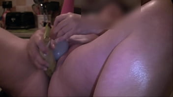 Julie Cunningham fucking herself with a banana porn image