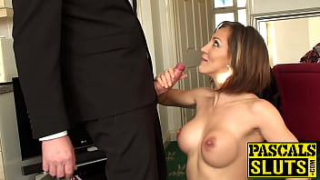 Busty UK Betty Foxxx eating cum before inked pussy pounding