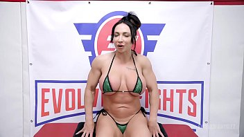 Lesbian Wrestling Fight with Busty Bella Rossi vs Brandi Mae pussy eating and rough fingering