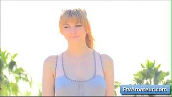 Sexy natural big tit blonde amateur teen Alyssa runs naked in the open street
