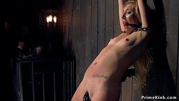 Locked in stocks bondage - Blonde locked in wooden stand stock