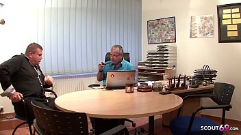 Two old Guys Fuck Teen with Glasses at Office - GERMAN RETRO