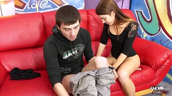 Unexperienced brunette babe fuck stranger first time for camera