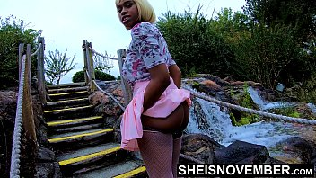 Msnovember In 4k HD Erotic Slow Motion Ass Flash Standing Outdoor Near Water Fall Pulling Upskirt In Public Getting Her Pretty Booty Grabbed Wearing Pink Short Skirt With Black Thong Pulled Down Sheisnovember