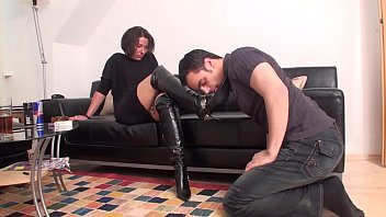 Femdom high heel boot Femdom ladies order slaves to lick their boots