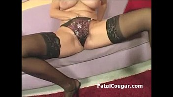 Amazing MILF with natural big tits shows off banginb body in pantyhose