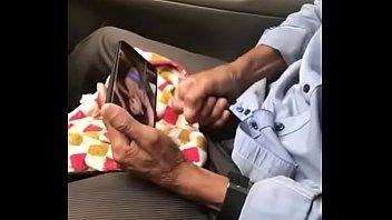 Gay khmer old man jerking off on car