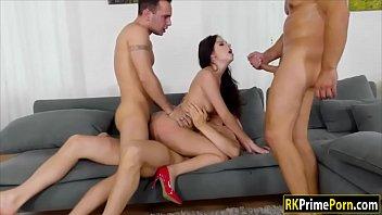Pervert men 4some with Rebecca Volpetti