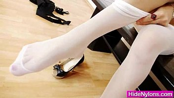 Cute teen feet video Petite teen hiding nylon tights in her pussy