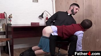 He lords gay Catholic boy moans and squeals as his virgin asshole is penetrated for the first time by priest