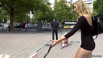 Busty blondes made crawl in public