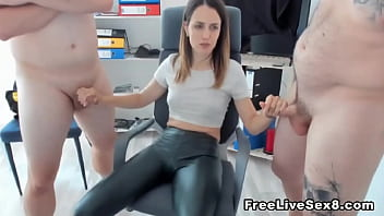 Hot Cougar and her Camel toe Jerks on two Cock