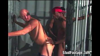 Interracial gay sex in a prison cell