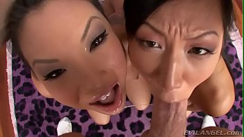 Asa Akira and Tia Ling both swallow Mike Adriano cock