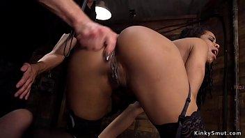 Ebony slave butt fucked for training