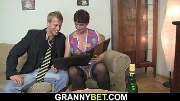 Old granny rides his horny big cock