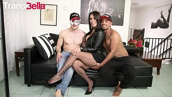 TRANSBELLA - Seductive Latina Tranny Erika Lavigne Enjoys 2 Italian Cocks In Threesome