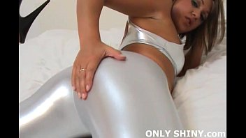 Girls tease hand in sexy panties Girl next door renee in shiny silver pvc panties