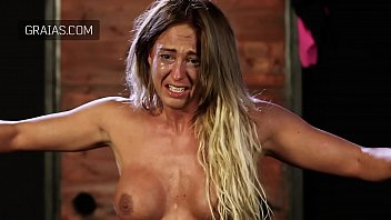 Blonde bodybuilder girl cries from hard whipping