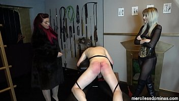 Chair bottom caning Screams - mistress eclipse and princess aurora make the slave suffer