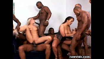 2 Sluts Get Gangbanged By 6 Pussy Hungry Black Hunks