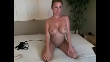 finger smooth-pussy perky milf with huge breasts fingers herself to climax