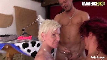 AMATEUR EURO - Horny Busty Ladies Lea Luestern And Hiltrude Share Hard Cock In Hot FFM Fun With Young Guy