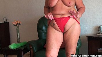 Chubby mature old woman - Chubby granny with saggy big tits and plump ass spreads pussy