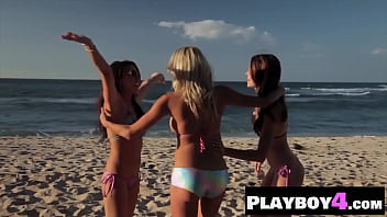 Pretty MILF lesbians enjoyed a hot posing on the beach