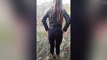 He cums on her leggings and leather jacket