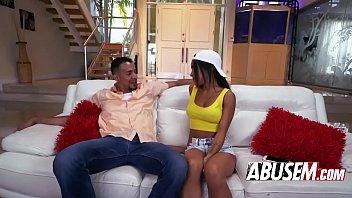 Amazing ebony babe bangs hard on a sofa