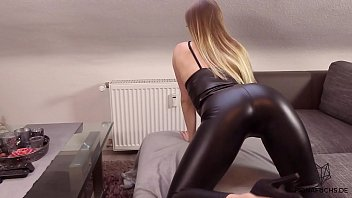 Blonde girl get fucked in leather tights | Fiona Fuchs