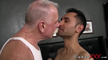 Gay older Lusty twink craves for bare mature cock in his little hole