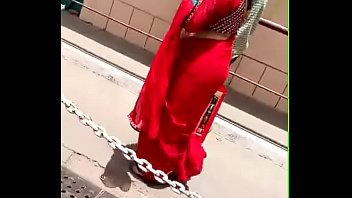 Red Saree aunty street walk - Hot bulky ass fully HD - http://free