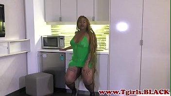 Chubby black trans filmed during her debut