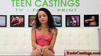 Tiny teenie choked and hardfucked at casting