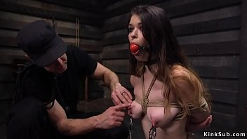 Clamped nipples busty babe fucked as training
