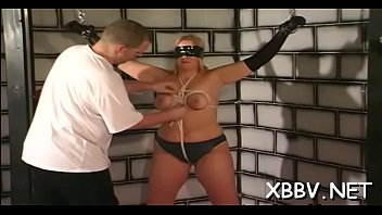 Dilettante lady leaves fellow to delight with breast bondage
