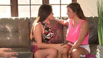 Lesbian teen Keisha Grey eaten out by busty blonde threesome