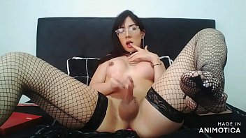 hottest, young and beautiful colombian model shemale fucking herself with dildo, moaning and cumming - Angeles del Mar