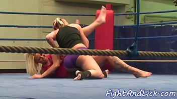 Adorable lezzies wrestling naked