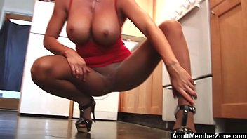 Adult clit - Sexy mom with huge tits rubs her clit in the kitchen